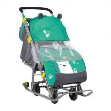 Санки-коляска Ника Детям НД 7 с медвежонком, изумрудный, Nika